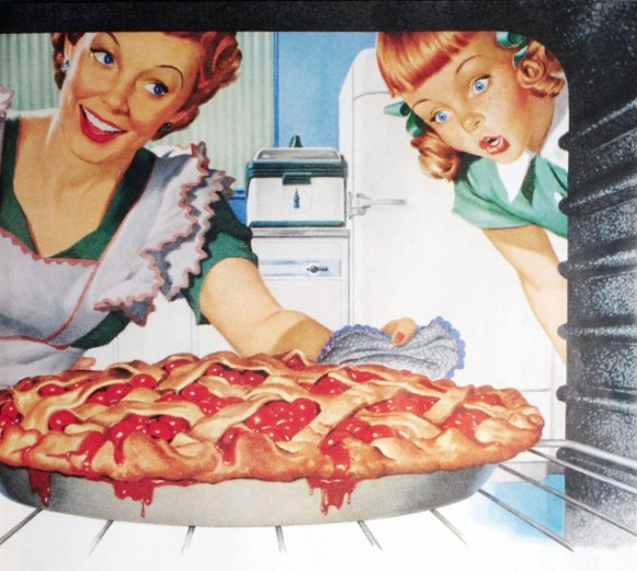 Illustration of an idealized American mother taking a perfect cherry pie out of the oven while her daughter looks on in amazement. Screen print, 1950s advertisement. --- Image by © PoodlesRock/Corbis